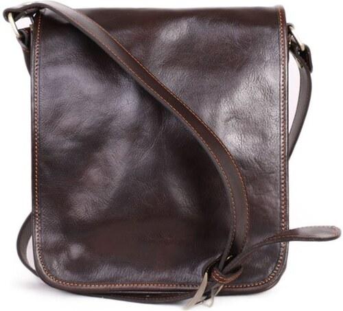 ITALSKÉ Luxusní crossbody pánské kožené tašky na rameno Ricardo čokoládová ee81a3c927e