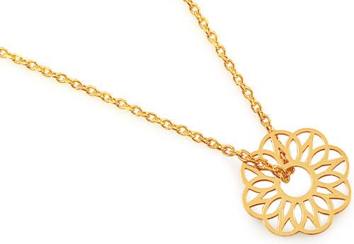 8b4e594bebc3 iZlato Design Pozlátený strieborný náhrdelník s kvetom IS1781Y ...