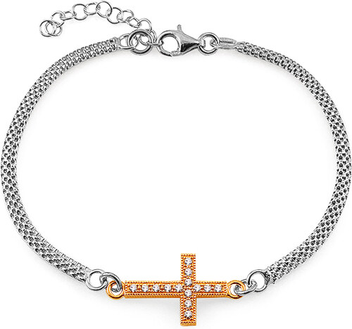 8aec7e0cb -21% iZlato Forever Zlacený stříbrný náramek křížek se zirkony IS1166N