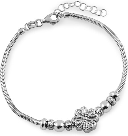 5503cce7e iZlato Forever Stříbrný náramek s perličkami a čtyřlístkem IS2704 ...