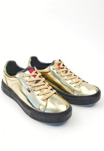 Tommy Hilfiger zlaté nízke tenisky na platforme Big Flag Mirror Star Gold 0a9dfa426d4