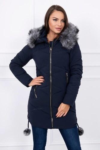 284d5136921c MladaModa Prešívaná dámska bunda s kapucňou a kožušinkou model 8005  námornícka modrá