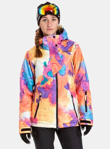 Nové Ružovo–oranžová dámska nepremokavá snowboardová bunda NUGGET Anja 6a505c097dd