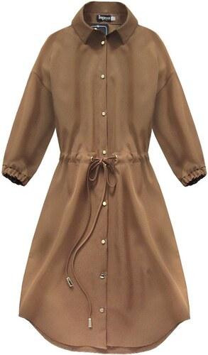 4fc548870480 INPRESS Karamelové dámske šaty s vreckami (133ART) - Glami.sk