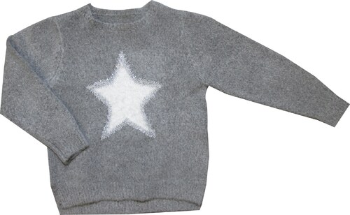 532a36bbf469 Carodel Dievčenský sveter s hviezdou - šedý - Glami.sk