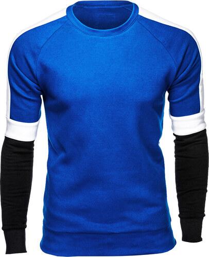 Ombre Clothing Pánska mikina bez kapucňe Westin modrá - Glami.sk 253f677edd3