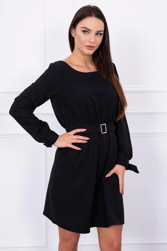 MladaModa Voľné šaty s remienkom v páse a s vreckami čierne - Glami.sk c00cfba3f6d