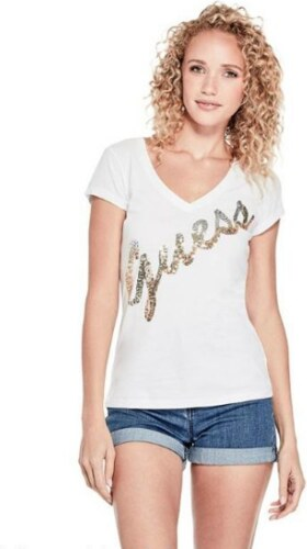 GUESS tričko Sash Sequin Logo Tee biele 829c0f2bc2c