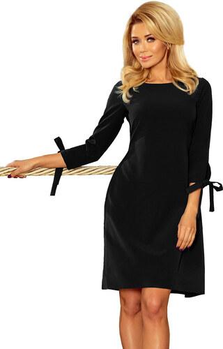 numoco Dámské šaty ALICE s 3 4 rukávem a mašlí středně dlouhé černé ... 84116619add