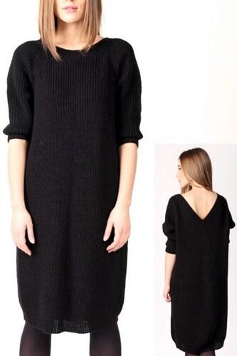 RITO Dámské pletené šaty černé s výstřihem na zádech 7865 f83cca3aa4