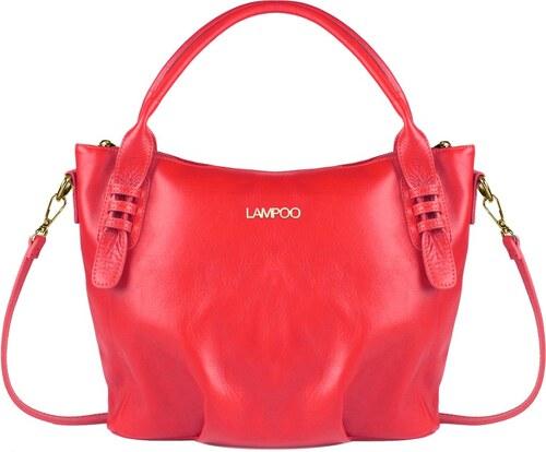 Červená kožená kabelka Lampoo Grana - Glami.sk 2f2ca534681