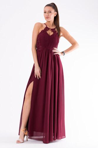 059b6b0a243 Dámské plesové šaty EVA LOLA bez rukávů s rozparkem dlouhé bordó ...