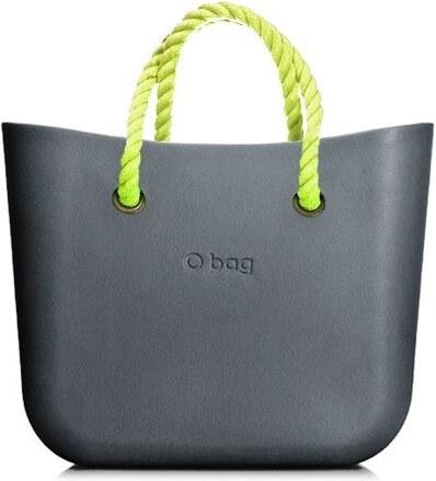 O bag kabelka MINI Grafite s neonově žlutými krátkými provazy - Glami.cz e5640ba862b