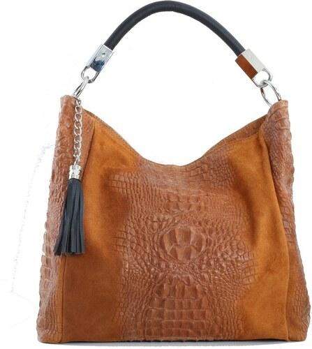 c939269967 -10% TALIANSKE Talianska shopperka kožená kabelka veľká na plece a do ruky  hnedá Alessa
