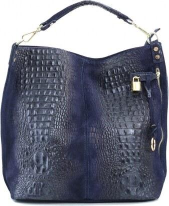 TALIANSKE XL Talianska shopperka kožená kabelka veľká na plece tmavomodrá  Valika b342119d514