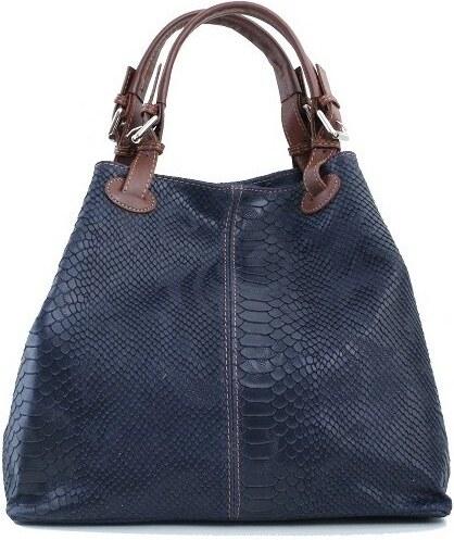 TALIANSKE Talianska kožená kabelka hadia koža na plece modrá Vanda ... 90789531fde