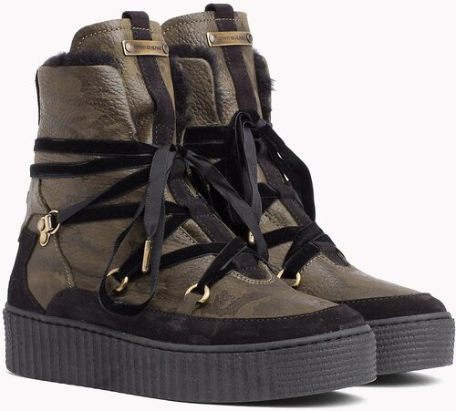 -5% Tommy Hilfiger khaki kožené topánky Cozy Warmlined Leath s kožušinkou 501eb97d7e5