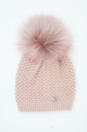 Dámská zimní čepice s bambulí Veilo - růžová 0893644607