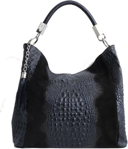 TALIANSKE Talianska shopperka kožená kabelka veľká na plece a do ruky čierna  Alessa 0ff13780f03