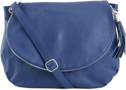TALIANSKE Talianska modrá kožená športová crossbody kabelka Vera Pelle  Angela 202858d25a9
