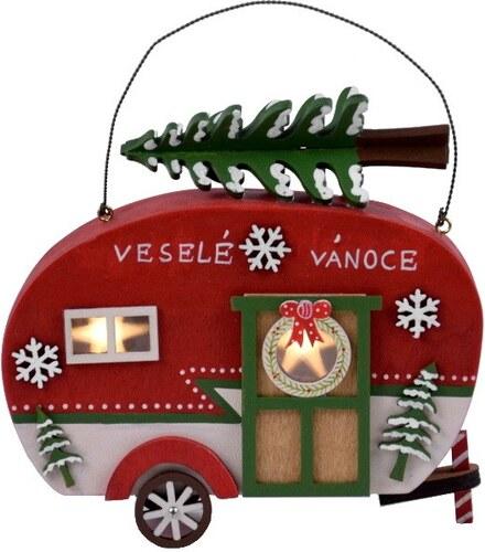 6dc9842738f Červený dekorativní LED karavan s vánočním stromkem Ego Dekor Car ...