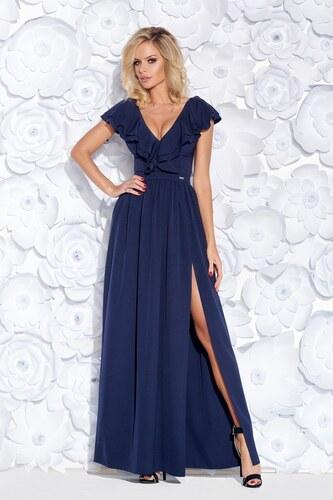 e4c707e532b0 Bicotone Dámské společenské šaty s volánem a rozparkem dlouhé tmavě modré