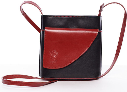 Dámská kožená crossbody kabelka černo-červená - ItalY Cora černá ... 5c78f2aee55