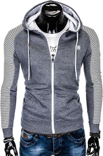 Ombre Clothing Pánská mikina s kapucí Jeffrey šedá - Glami.cz b704aa4032