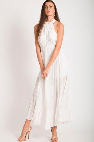 43bfe8acc4c BUfashion Biele dlhé plisované šaty - Glami.sk