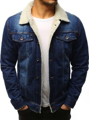 Tmavomodrá pánska zateplená džínsová bunda - Glami.sk 9389a673228