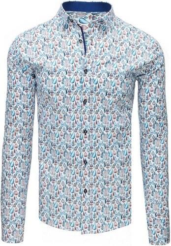 055a9fc477c8 Biela pánska elegantná vzorovaná košeľa - Glami.sk