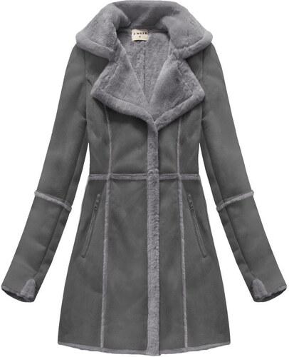 dc05bb25fc Jejmoda Dámsky semišový kabát MODA802 šedý - Glami.sk