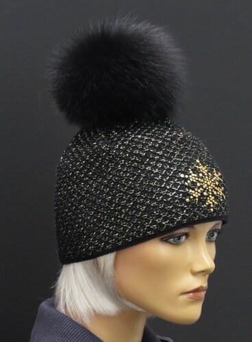 153ef5c1167 R-Jet Luxusní pletená čepice s pravou kožešinovou bambulí 604 černá zlatá