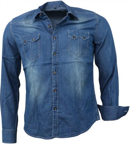 63b541b9f069 CARISMA košeľa pánska 8128 dlhý rukáv riflová - Glami.sk