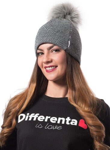 56bee7770 Differenta Design sivá dámska čiapka s brmbolcom - Glami.sk