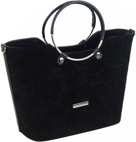 Čierna semišová dámska kabelka s motívom kvetín S745 GROSSO - Glami.sk 82e2237e75d