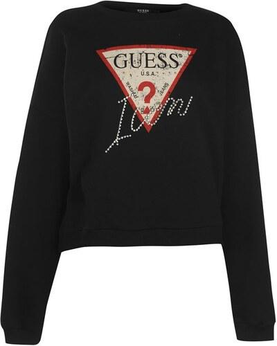 da3f83c6575 Dámská mikina Guess Icon Fleece Sweater Černá - Glami.sk