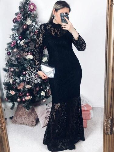 6656f98a0855 ZAZZA Dlhé elegantné čierne čipkované šaty - Glami.sk