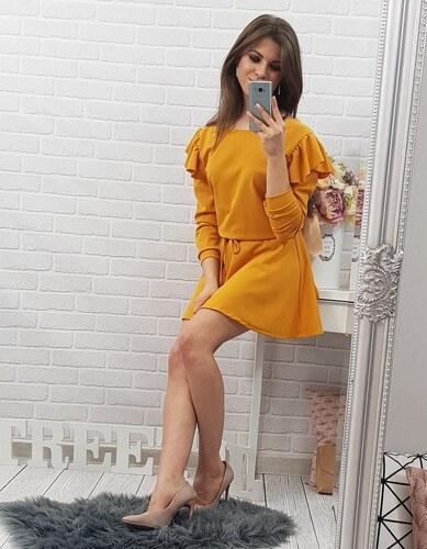 BASIC Dámské žluté šaty (ey0221) - Glami.cz 77c88e8470