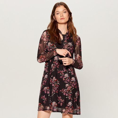 Mohito - Květované šaty s ozdobným vázáním - Černý - Glami.cz d334e2445a3