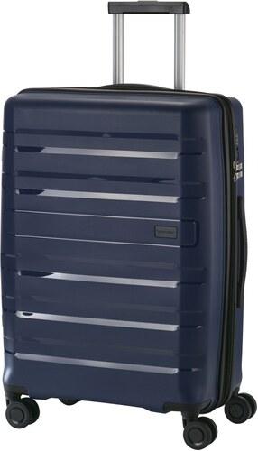 ddd62e400041 Travelite KOSMOS M kék négykerekű bővíthető ütésálló közepes bőrönd ...
