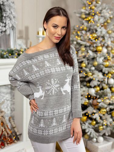 MODANOEMI Dámsky oversize predĺžený vianočný sveter SV2018S - Glami.sk db5acfe7e06