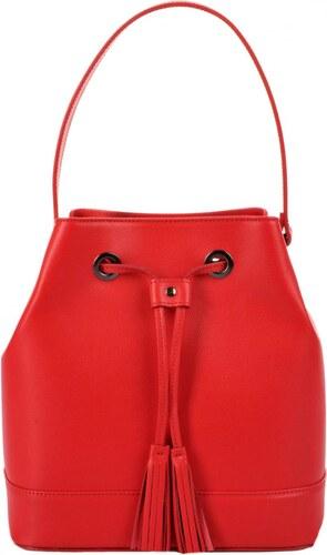 -15% elegantní kožená kabelka - vak 5324 červená 8b0501d3e1c