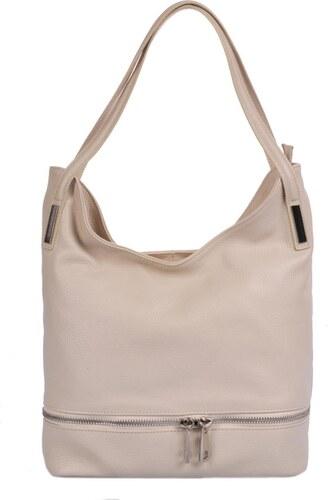Dámská kožená kabelka 5088 béžová + stříbrné doplňky f12d19a908a