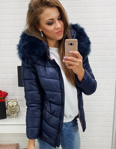 -36% BASIC Tmavo modrá dámska bunda s kožušinovou kapucňou (ty0300) fd96447c9d2