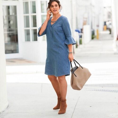 9a8b1aef4e74 Blancheporte Denimové šaty so šnurovaním modrá - Glami.sk