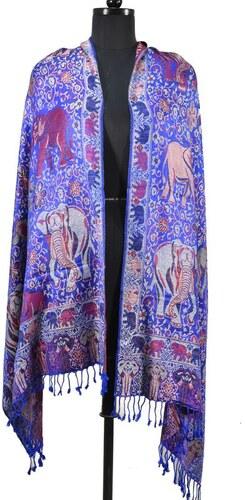 Velká šála s motivem slonů s třášněmi 9293de0c85