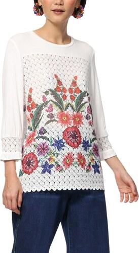 Desigual biele tričko TS Brenda s farebnými motívmi - Glami.sk b839dc5740a