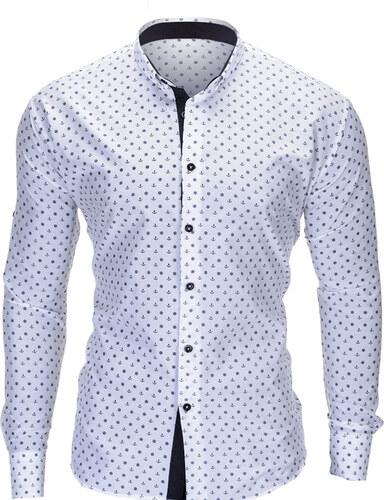 dd90ca8f7b9 Ombre Clothing Pánská námořnická košile slim fit Juelz bílá - Glami.cz