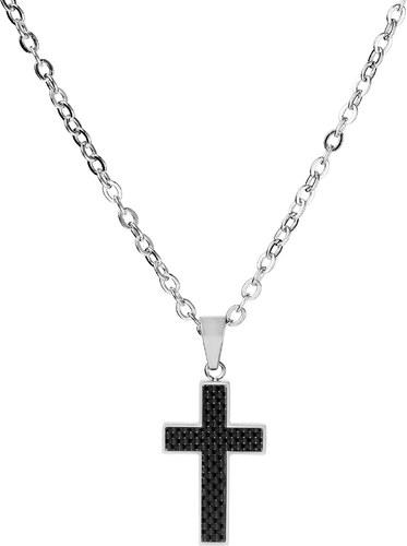 Fort Tempus Náhrdelník s príveskom v tvare kríža s čiernym vnútrom ... 17cfa2d97ef